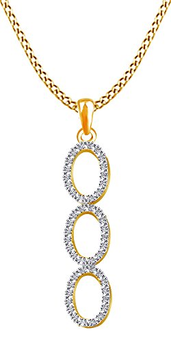 AFFY 0.33 Ct Sparkling Natural Diamond Journey Pendant Necklace in 14K Solid Yellow Gold