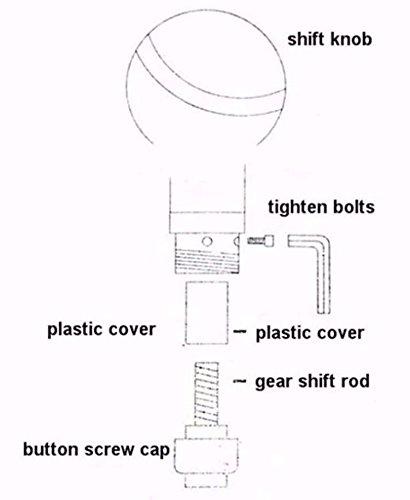 Semoss Universal Manual Pomo Palanca Cambios 5 Marchas con 3 Adaptadores 8mm 10mm 12mm para la mayor/ía de los Coches