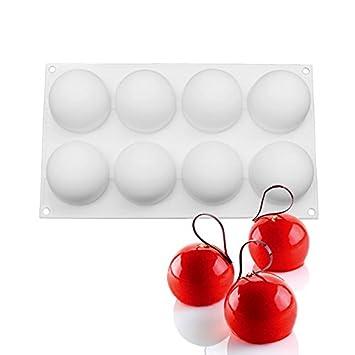 Molde redondo de silicona con forma de bola para repostería, molde de silicona para repostería, molde de chocolate: Amazon.es: Hogar
