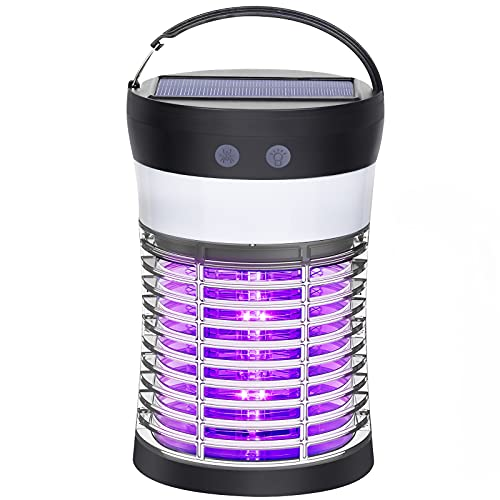 Bug Zapper, Electric Solar Mosquito Killer for Indoor & Outdoor, 3000V High Powered Pest Control Waterproof UV Mosquito…