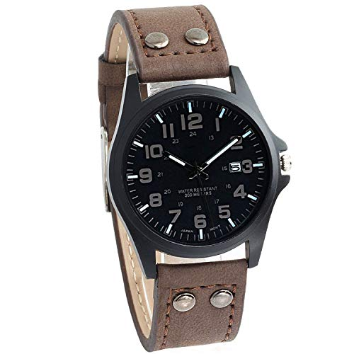 - Men Watch New Mans Clock Men's Date Leather Strap Watches Sport Quartz Military Wristwatch relatio Masculine 4 Color,Coffee