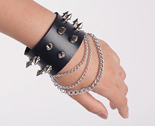 SummitLink Retro Punk Rock Multi Circle Rivet Chain PU Creative Wrap Punk Bracelet -