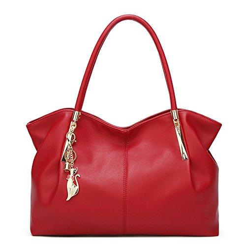 NB XZW PU Fourre Grande à Sacs Red Femme Sac tout Main Messenger Pour à Bag Capacité Bandoulière dTnSrp1T
