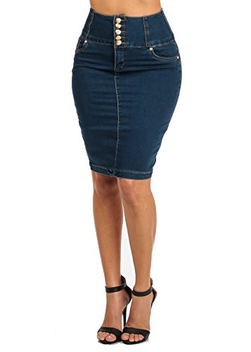 High Waisted Butt Lift Levanta Cola Dark Denim Knee Length Pencil Skirt 11006R (Rise Denim Pencil Skirts)