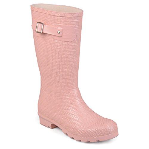 Journee Collection Womens Textured Rubber Basketweave Mid-Calf Rainboots Pink, 5.5 Regular US