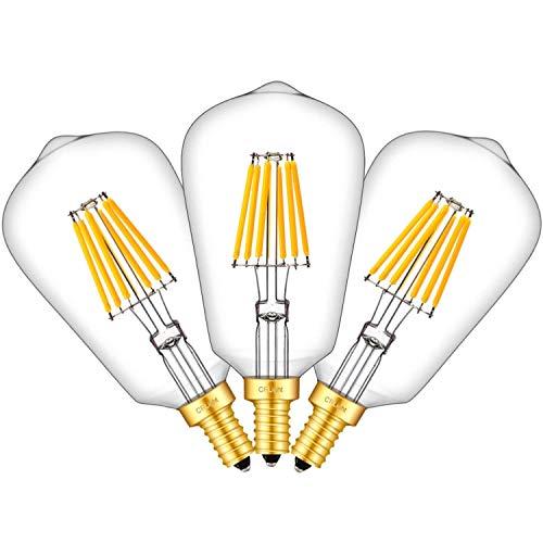 CRLight 6W LED Candelabra Edison Bulb 70W Equivalent 3000K Soft White 700LM, E12 Candelabra Base ST19(ST58) Vintage Edison Style Dimmable LED Light Bulbs, Pack of 3