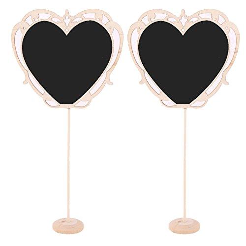 uxcell Wood Household Heart Shaped Standing Memo Message Board Wordpad Blackboard 2pcs
