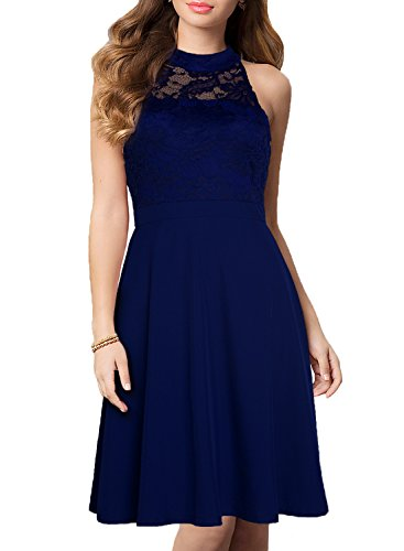WOOSEA Women's Vintage Floral Lace Halter Neck Cocktail Formal Swing Dress (Large, Navy Blue)