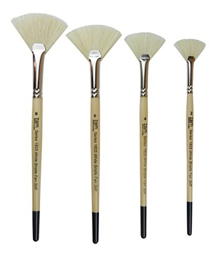White Bristle Stiff Fan Brush Set Size 2,4,6,8 (Oil Fan Paint Brush)
