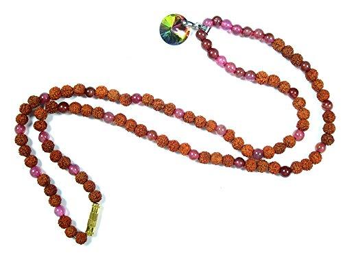 Mogul Intérieur adulte Méditation Japamala Rudraksha Jade Om Chapelet spirituelle Idée cadeau Collier de 15 pouces rose