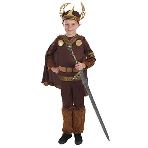 fun shack Boys Deluxe Viking Costume Historical Norse Warrior Horned Helmet Outfit - Large, Boys Viking Warrior