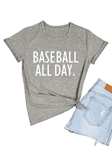 (ZJP Women Casual Short Sleeve Baseball All Day Letter Print Shirt Tee Top Blouse Grey)