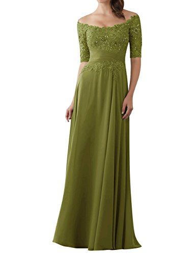 Evening Dresses Mother of The Bride Gowns with Sleeves Lace Long Chiffon Beaded Olive US2