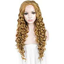 Imstyle Long Curly Sunset Brown Lace Front Wig Heat Resistant Synthetic Hair Wigs for Women