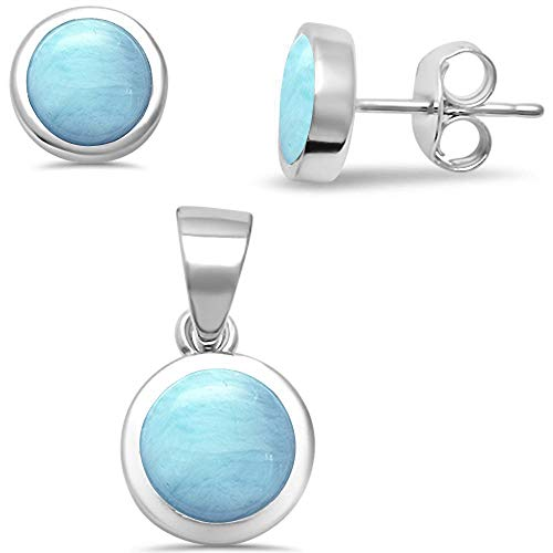 Natural Larimar .925 Sterling Silver Earrings & Pendant Set