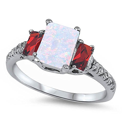 Best Seller Lab Created White Opal, Deep Red Simulated Garnet & Cz .925 Sterling Silver Ring Size 8