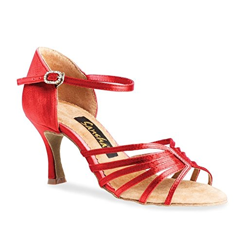 (SANSHA Adult Red Satin Upper Heeled Buckle Selia Ballroom Shoes Womens 8)