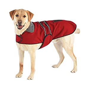 Casual Canine Fleece-Lined Reflective Dog Jacket for Safety, Red, Medium