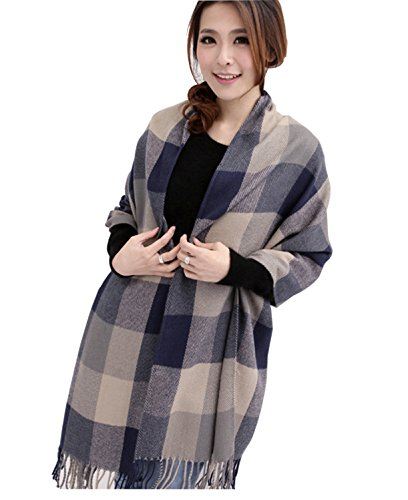 Thick Silk Scarf (Wander Agio Women's Fashion Long Shawl Big Grid Winter Warm Large Scarf Grey)