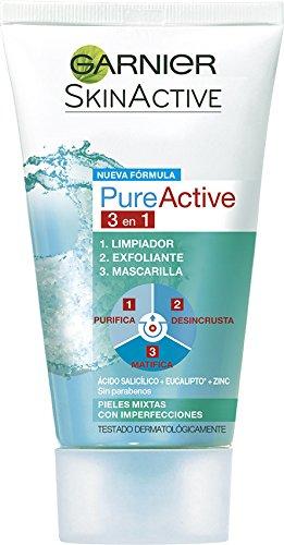 Garnier Skin Active - Pure Active 3 en 1 - Limpiador, exfoliante y mascarilla - 150 ml