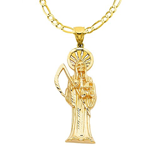 14k Yellow Gold Santa Muerte Religious Pendant with 2.3-mm Figaro Chain 14k Yellow Gold Santa