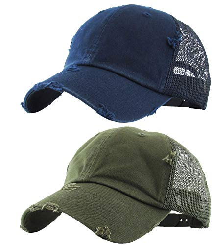 H-6140-2-K3133 Trucker Hat 2-Pack Bundle: Distressed Navy & ()