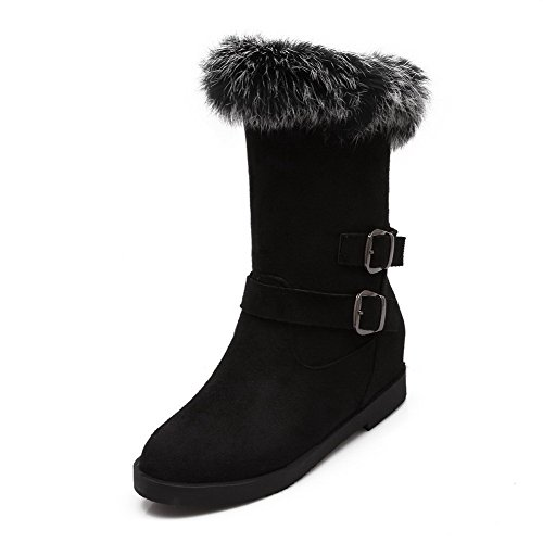 AmoonyFashion Womens Round-Toe Closed Toe Low-Heels Boots With Thread and Platform Black Q4I0Hyyt