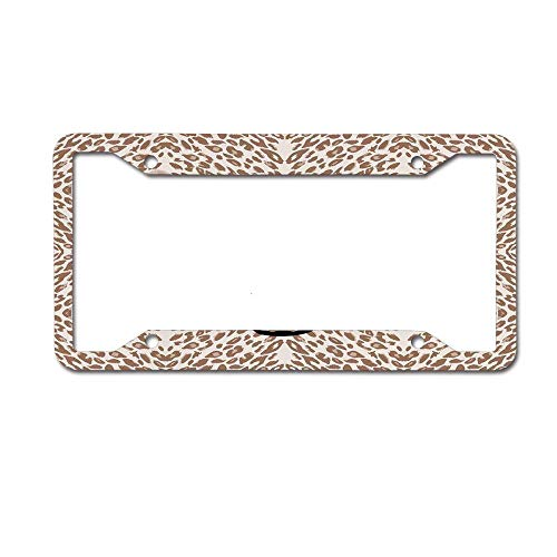 - huizehonghong Roaring Leopard Portrait with Rosettes Wild African Animal License Plate Frame - Aluminum License Plate Frame, License Tag Holder,Auto Frame Cover