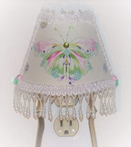 Whimsical Pastels Butterfly NIGHT LIGHT with Lovely White Beaded Fringe Trim ()