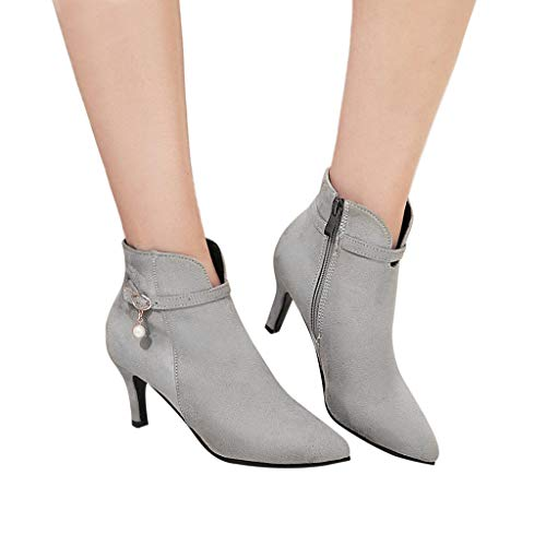 Women's Trendy Buckle Strap Side Zipper Ankle Booties High Heel Short Boots (Gray, US:9.0) (Looks Like A Pump Feels Like A Sneaker)