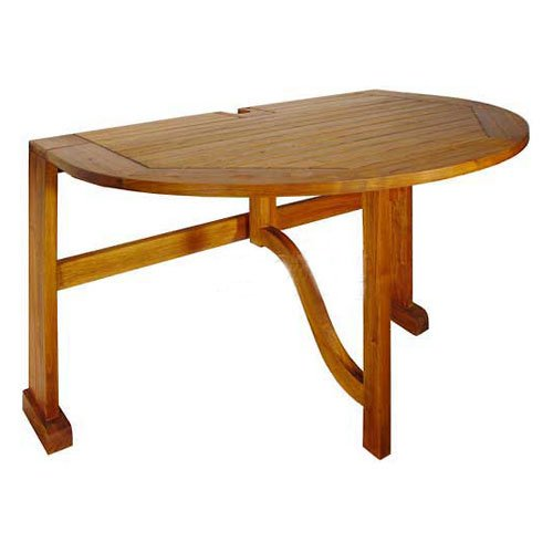 Umbrella Base Patina - Blue Star Group Terrace Mates Bistro Half Oval Table, Natural Wood Stain