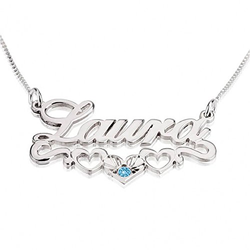 Earring Jewelry Plate Name Personalized (Personalized Custom Sterling Silver Hearts Name Necklace Jewelry (16))