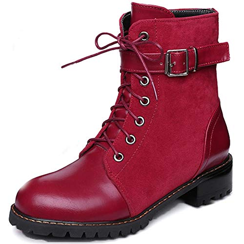 Kaloosh Women's PU Square Heel Low Heel Strap Buckle Zip Lace up Round Toe Fashion Martin Boots 2red