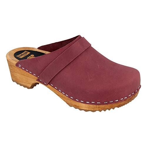 - Vollsjo Women's Genuine Leather Wooden Clogs Made in EU, Suede - Maroon,8