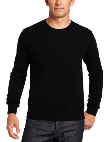 Williams Cashmere Men's 100% Cashmere Long Sleeve Crew Neck Sweater, Black, Medium by Williams Cashmere