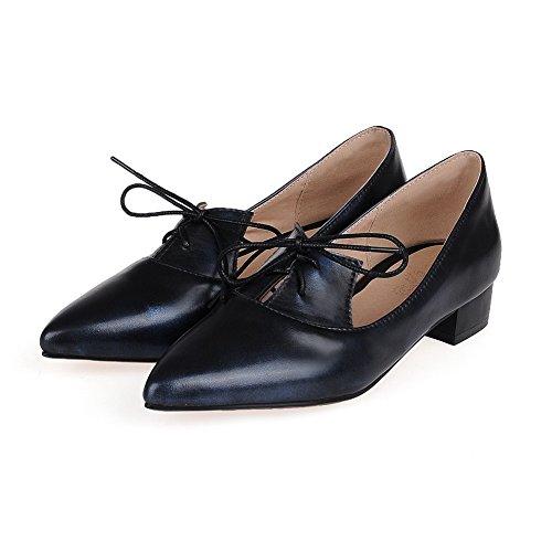 Amoonyfashion Womens Lace Up Lage Hakken Pu Stevige Puntige Gesloten Teen Pumps-schoenen Blauw