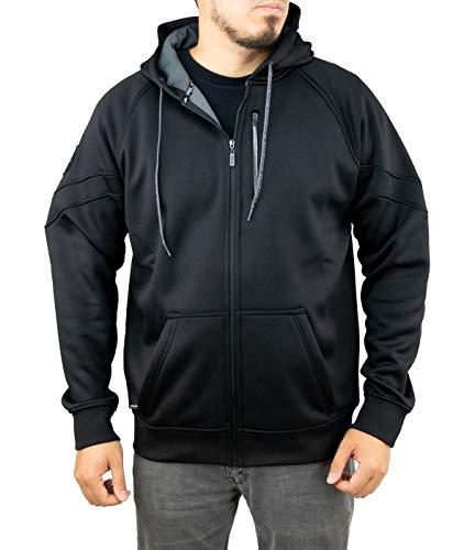 Hydro Zip Hoodie - Pelagic Men's Pinnacle Zip Hooded Sweatshirt | 3 All-Purpose Pockets | Quick Dry Black