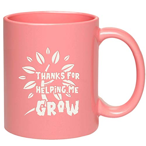 Engraved Thanks Mug - Thanks For Helping Me Grow - Gifts for Dad Mom Teacher - Engraved in the USA ()