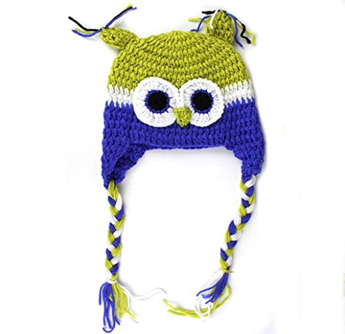 Joy Baby Photography Prop Knit Owl Crochet Hat One Size Multi-Color