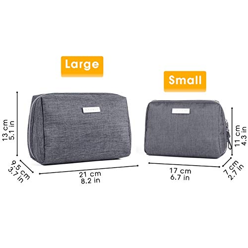 Large Makeup Bag Zipper Pouch Travel Cosmetic Organizer for Women and Girls (Large, Grey)