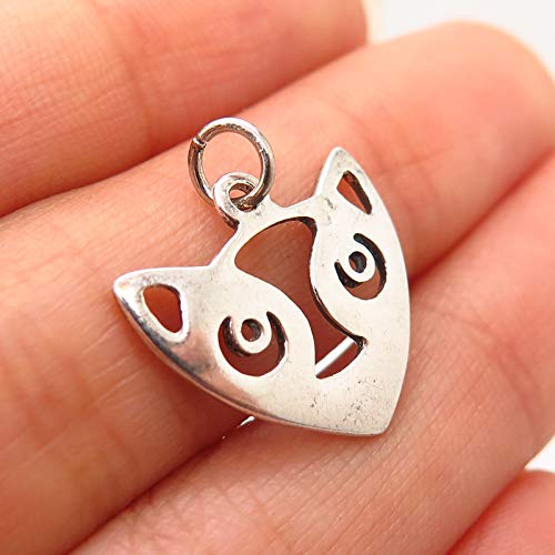 (925 Sterling Silver A.B.E. Siamese Cat Design Charm Pendant Jewelry Making Supply by Wholesale Charms)
