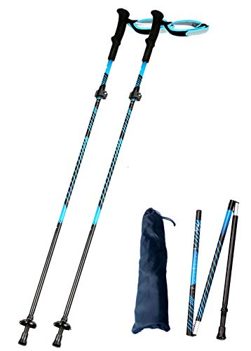 Alafen Collapsable Climbing Sticks 2 Pieces Aluminum Quick Lock Lightweight Walking Hiking Trekking Poles Blue 2PCS