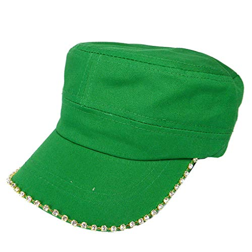 SILVERFEVER Women's Military Cadet Army Cap Hat with Bling -Rhinestone Crystals on Brim (Kelley Green)