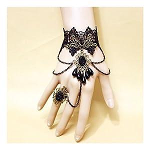 LEFINIS Handmade Gothic Retro Lace Slave Bracelet Lolita Wristband Finger Ring Flower Design
