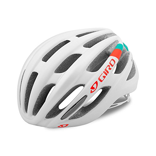 Giro Saga Womens Cycling Helmet Matte White/Turquoise/Vermillion Small (51-55 cm)