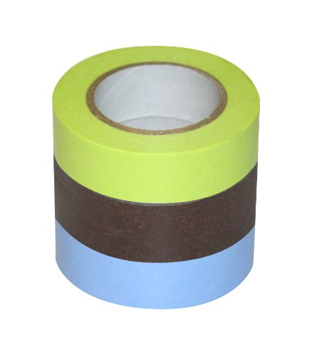 DŽcor Washi Tape 3 Piece Set: Light Green, Brown, Light Blue
