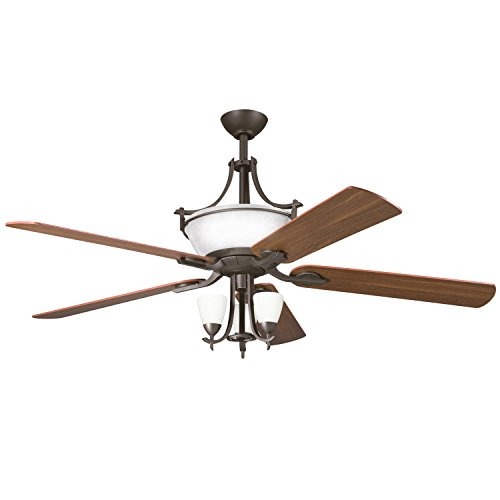 Olde Bronze Blades (Olde Bronze 60in. Indoor Ceiling Fan with 5 Blades and Cased Opal Glass Uplight)
