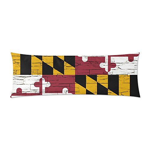 (LumosSports MaryLand State Distressed Flag Body Pillow Cover Decorative Case Pillowcase 21x61 Inch)