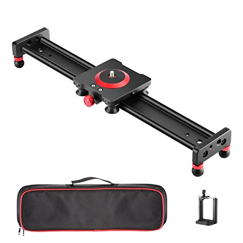 Neewer Camera Slider Aluminum Alloy Dolly Rail,16 inches/40 centimeters with 4 Bearings for Smartphone Nikon Canon Sony Camera, Load up to 12 pounds/5.44 kilograms by Neewer