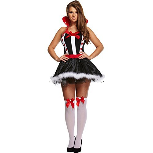 Queen Of Hearts Fancy Dress Costume (Black/White/Red)